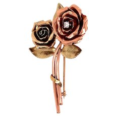 14K Rose and Yellow Gold Diamond Rose Brooch