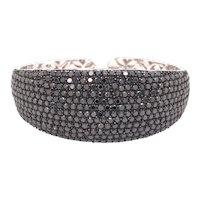 14K White Gold Black Diamond Cuff Bracelet