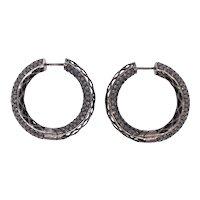 14K Gold Black Diamond Hoop Earrings