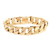 14K Gold Flattened Curb Link Chain Bracelet