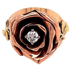 14K Rose and Yellow Gold Diamond Rose Ring