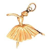 14K Gold Ballerina Charm