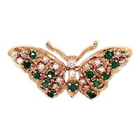 14K Yellow Gold Diamond and Emerald Butterfly Pendant