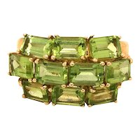 10K Gold Emerald-Cut Peridot Ring