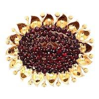 18K Yellow Gold Garnet Sunflower Brooch