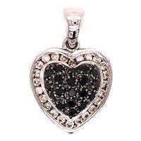 14K White Gold Diamond & Black Diamond Heart Pendant