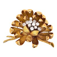18K Yellow Gold Diamond Floral Brooch