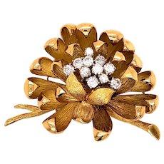 18K Yellow Gold Diamond Floral Brooch