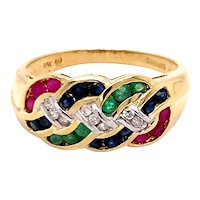 14K Yellow Gold Multi-Color Gemstone Chain Ring