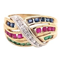 14K Yellow Gold Multi-Color Gemstone Dome Ring