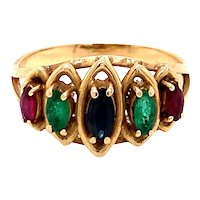14K Yellow Gold Marquise-Cut Multi-Color Ring