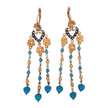 22K Gold Silver Diamond and Turquoise Fringe Pendant-Earrings