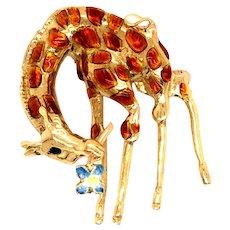 18K Gold Enamel Giraffe Brooch