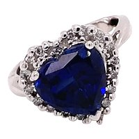 14K White Gold Sapphire Heart-Cut with Diamond Halo Ring