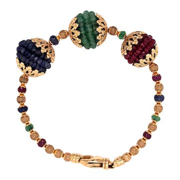 18K Yellow Gold Ruby Sapphire Emerald Bracelet