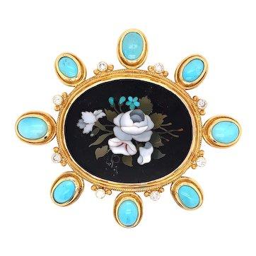18K Yellow Gold Pietra Dura Turquoise Diamond Brooch