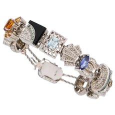 14K White Gold Diamond Multi-Color Gemstone Bracelet