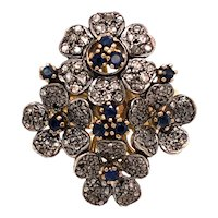 18K Yellow & White Gold Sapphire Diamond Floral Ring