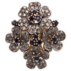 18K Yellow & White Gold Sapphire Diamond Floral Ring