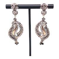 14K White & Yellow Gold Rose-Cut Diamond Drop Earrings