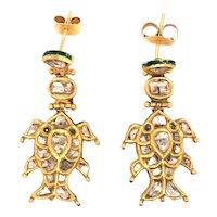 22K Gold Enamel Rose-Cut Diamond Drop Fish Earrings