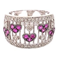 14K White Gold Pink Sapphire Hearts and Diamond Dome Ring