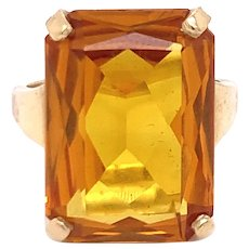 10K Yellow Gold Emerald-Cut Citrine Ring