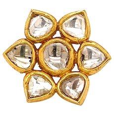 22K Yellow Gold Rose-Cut Diamond Floral Pendant