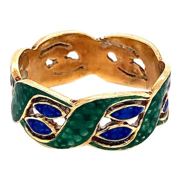 14K Yellow Gold Green and Blue Enamel Ring