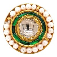 22K Yellow Gold Rose-Cut Diamond, Emerald and Pearl Pendant
