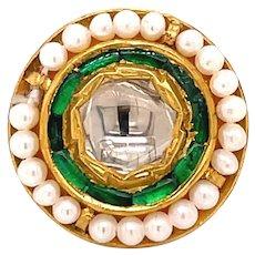 22K Yellow Gold Rose-Cut Diamond, Emerald and Pearl Pendant