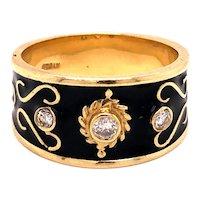 14K Gold Black Enamel Diamond Band Ring