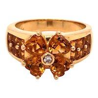 14K Gold Heart Shape Citrine Diamond Floral Ring