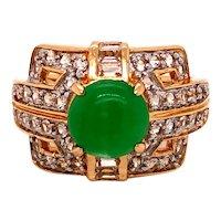 14K Gold Jade Diamond Ring