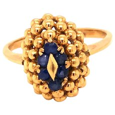 18K Gold Sapphire Dome Ring