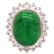 18K White Gold Jade Cocktail Ring