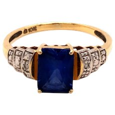 10K Yellow Gold Sapphire Diamond Ring
