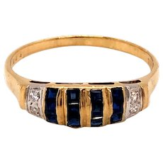 14K Yellow Gold Sapphire Diamond Band Ring