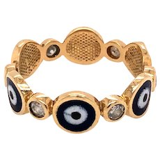 14K Yellow Gold Enamel Evil Eye Diamond Band Ring