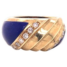 18K Diamond Lapis Statement Ring