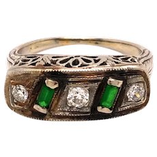14K White Gold Diamond Emerald Vintage Ring