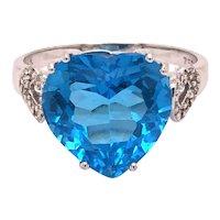 18K White Gold Heart Shape Blue Topaz Diamond Ring