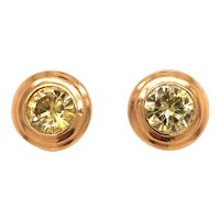 14K Yellow Gold Simulated Stone Earclips
