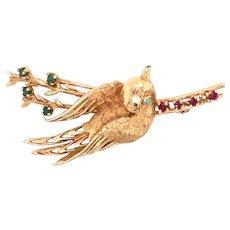 14K Yellow Gold Turquoise Bird Brooch
