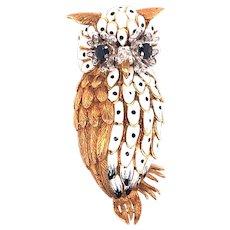 18K Owl Pin Brooch