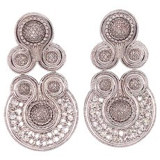 18K White Gold Diamond Statement Earrings