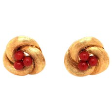 18K Yellow Gold Coral Clip-On Earrings