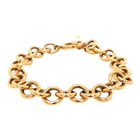 14K Yellow Gold Round Link Charm Bracelet