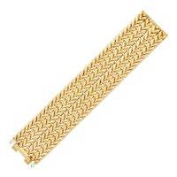 18K Yellow Gold Zigzag Link Wide Bracelet