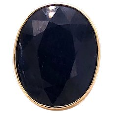 18K Jumbo Oval Sapphire Statement Ring